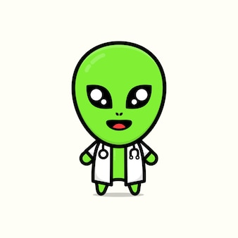 Ilustração de desenho animado alienígena fofo