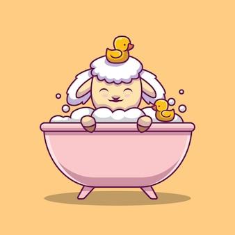 Ilustração de desenho animado bonita ovelha tomando banho na banheira
