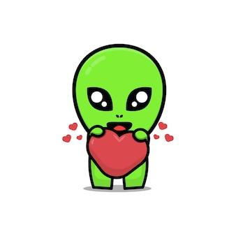 Ilustração de desenho animado bonito alienígena abraçando um coração