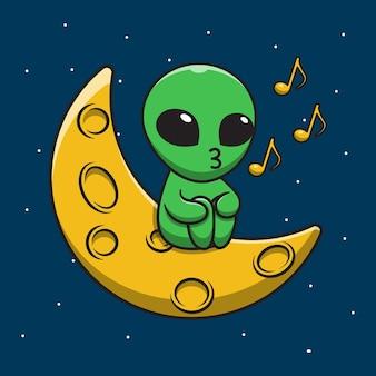 Ilustração de desenho animado bonito alienígena cantando na lua
