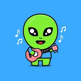 Ilustração de desenho animado bonito alienígena tocando guitarra