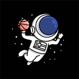 Ilustração de desenho animado bonito astronauta mergulhando no basquete