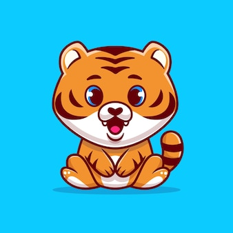 Ilustração de desenho animado bonito bebê tigre sentado