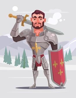 Ilustração de desenho animado bonito corajoso cavaleiro sorridente