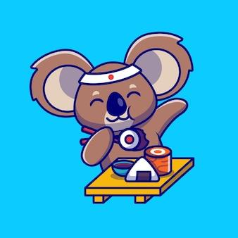 Ilustração de desenho animado bonito de coala comendo sushi