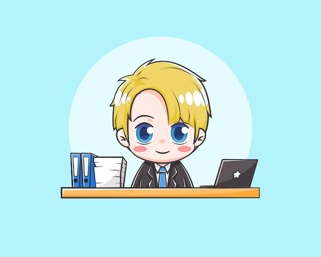 Ilustração de desenho animado bonito empresário