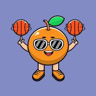Ilustração de desenho animado bonito laranja jogar basquete Vetor Premium