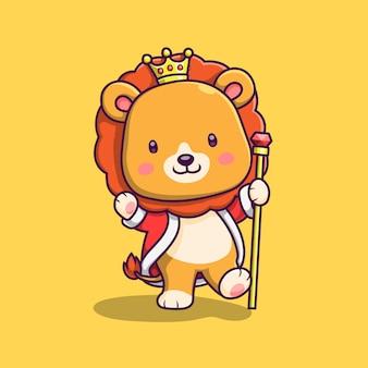 Ilustração de desenho animado bonito leão rei