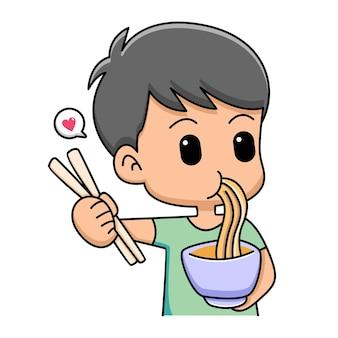 Ilustração de desenho animado bonito menino comendo macarrão
