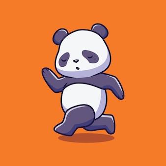 Ilustração de desenho animado bonito panda correndo