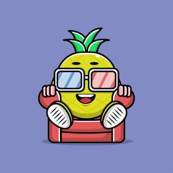 Ilustração de desenho animado bonito relógio de abacaxi