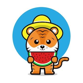 Ilustração de desenho animado bonito tigre comendo melancia