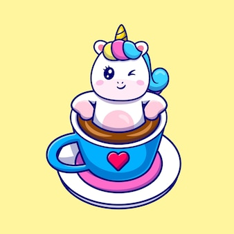 Ilustração de desenho animado bonito unicórnio relaxando em uma xícara de café