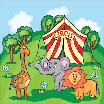 Ilustração de desenho animado brilhante para crianças com a imagem de animais de circo