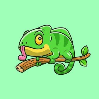 Ilustração de desenho animado camaleão fofo na árvore