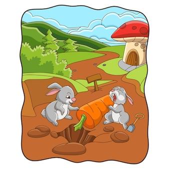 Ilustração de desenho animado com coelho cavando uma cenoura