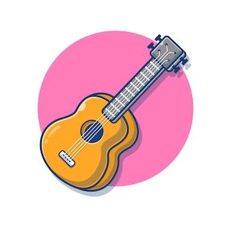 Ilustração de desenho animado com guitarra acústica