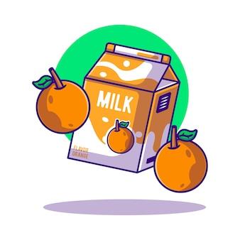 Ilustração de desenho animado da caixa de laranja e leite