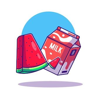 Ilustração de desenho animado da caixa de melancia e leite