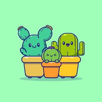 Ilustração de desenho animado da família de plantas de cacto feliz