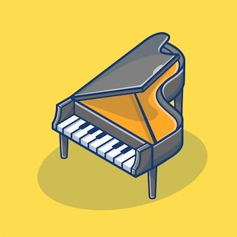 Ilustração de desenho animado da música piano classic