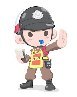 Ilustração de desenho animado da polícia de trânsito tailandesa com estilo fofo
