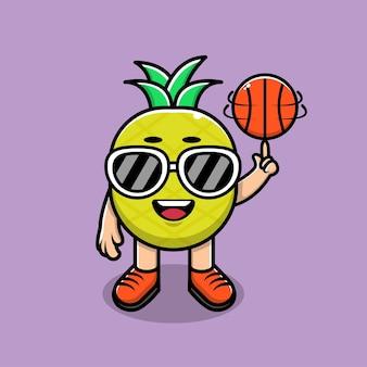Ilustração de desenho animado de abacaxi fofo jogando basquete