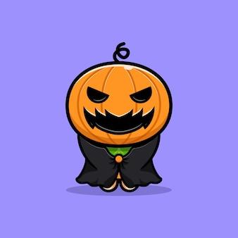 Ilustração de desenho animado de abóbora fofa vestindo capa escura