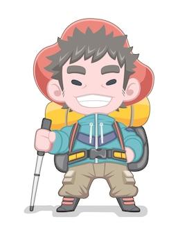 Ilustração de desenho animado de alpinista em pé de estilo fofo