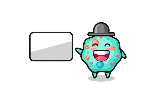 Ilustração de desenho animado de ameba fazendo uma apresentação, design de estilo fofo para camiseta, adesivo, elemento de logotipo