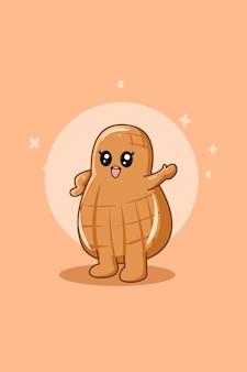 Ilustração de desenho animado de amendoim fofinho e engraçado