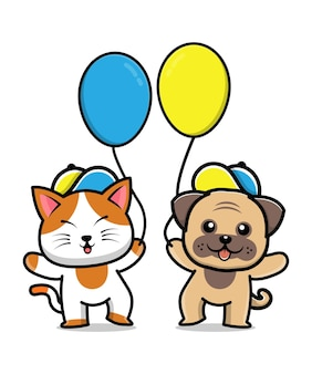 Ilustração de desenho animado de amigo fofo de cachorro e gato