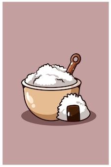 Ilustração de desenho animado de arroz e sushi