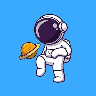 Ilustração de desenho animado de astronauta fofo jogando futebol planeta