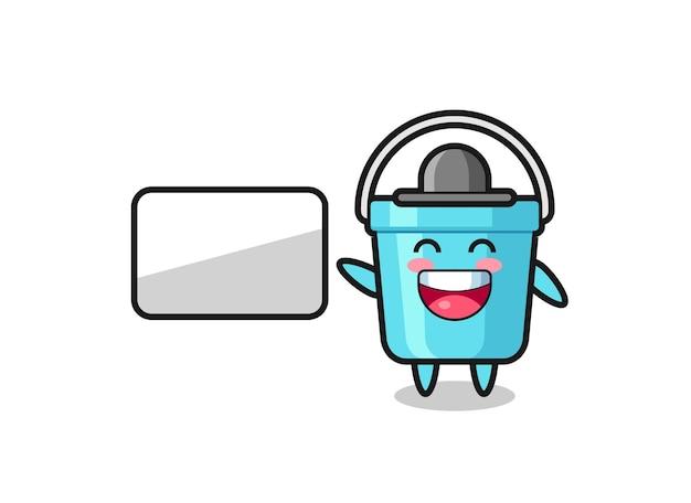 Ilustração de desenho animado de balde de plástico fazendo uma apresentação, design de estilo fofo para camiseta, adesivo, elemento de logotipo