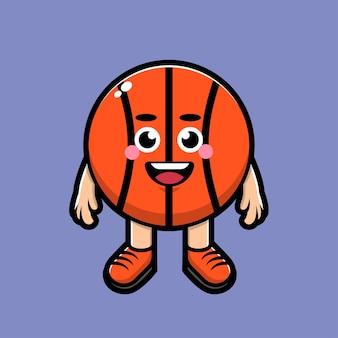 Ilustração de desenho animado de basquete fofo