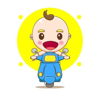 Ilustração de desenho animado de bebê fofo andando de motocicleta