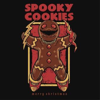Ilustração de desenho animado de biscoitos assustadores de feliz natal