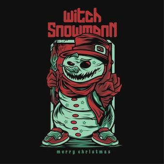 Ilustração de desenho animado de bruxa boneco de neve feliz natal