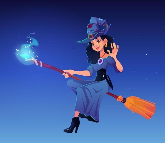 Ilustração de desenho animado de bruxa em uma vassoura mágica