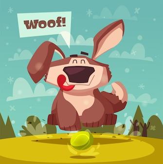 Ilustração de desenho animado de cachorro engraçado