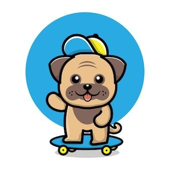 Ilustração de desenho animado de cachorro fofo brincando de skate
