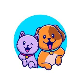 Ilustração de desenho animado de cachorro fofo e gato fofo