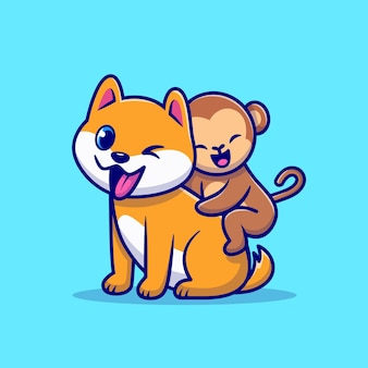 Ilustração de desenho animado de cachorro fofo e macaco