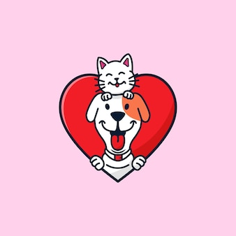 Ilustração de desenho animado de cão e gato fofo