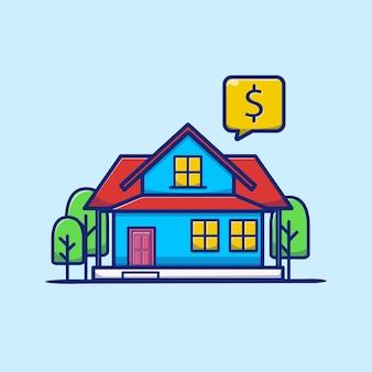 Ilustração de desenho animado de casa para alugar e vender