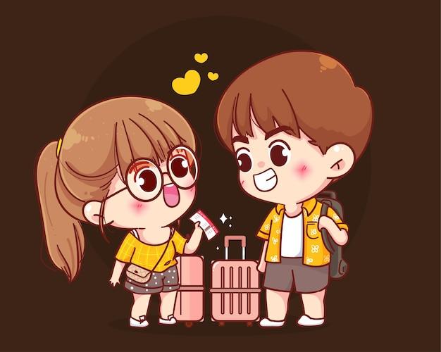 Ilustração de desenho animado de casal de viajantes com malas indo para as férias