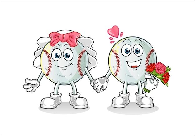 Ilustração de desenho animado de casamento de beisebol