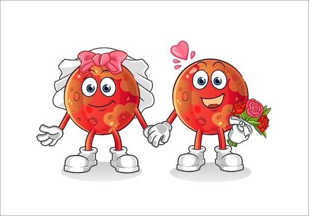 Ilustração de desenho animado de casamento em marte