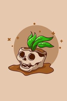 Ilustração de desenho animado de caveira com plantas